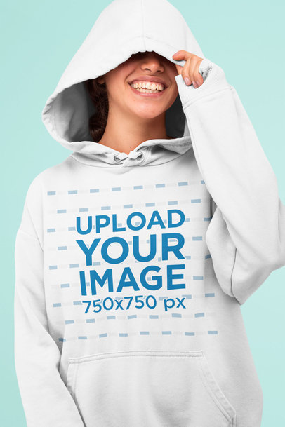 Pullover Hoodie Mockup Featuring a Woman Laughing in a Studio 32828a