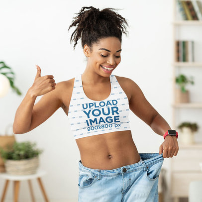 Sports Bra Mockup of a Happy Woman Wearing a Pair of Old Jeans m2748-r-el2