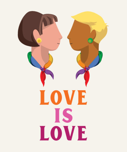 Illustrated T-Shirt Design Generator Featuring an LGBTQ Couple and a Quote 29a