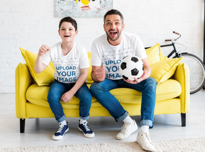 T-Shirt Mockup of a Boy Watching a Soccer Match With His Dad m2715-r-el2