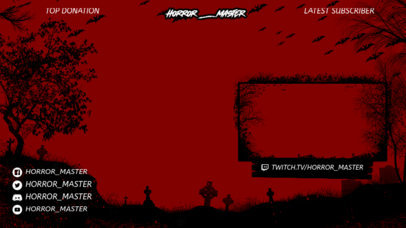 Twitch Overlay Design Template with Horror-Themed Graphics 3492
