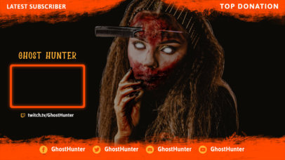 Horror-Themed Twitch Overlay Design Template with a Webcam Frame 3489