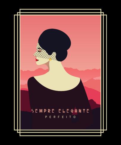 Art Deco-Inspired T-Shirt Design Creator Featuring an Elegant Woman 3679e-el1