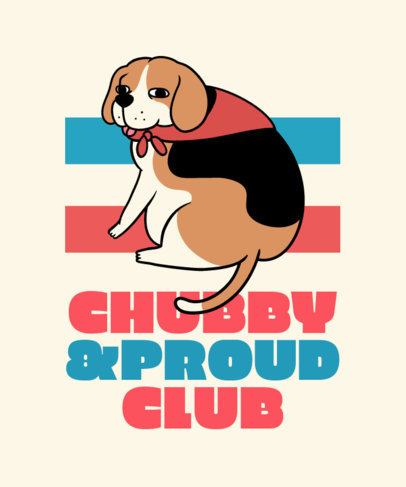T-Shirt Design Creator with a Cartoonish Graphic of a Chubby Beagle 3497b