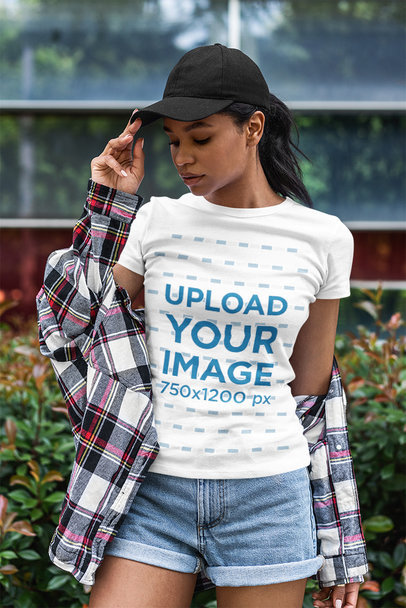 T-Shirt Mockup Featuring a Stylish Woman in a Flannel 5184-el1
