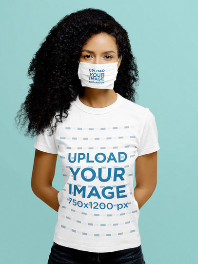 T-Shirt Mockup of a Curly-Haired Woman Wearing a Basic T-Shirt at a Studio m2154-r-el2
