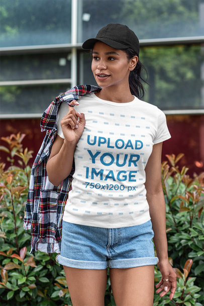 T-Shirt Mockup of a Woman in a Stylish Outfit Posing 5183-el1