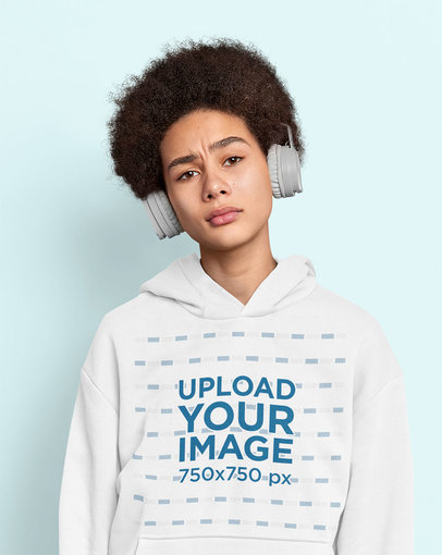 Hoodie Mockup of a Young Curly-Haired Woman With Headphones m3477-r-el2