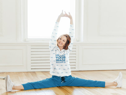 Sublimated Hoodie Mockup of a Woman Doing a Full Split m3369-r-el2