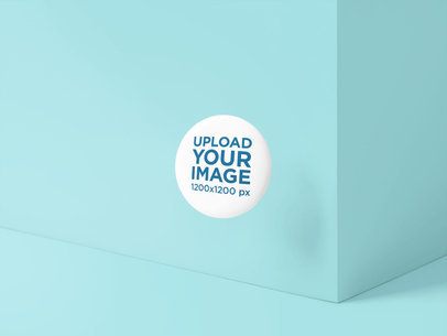 Mockup of a Button Floating in Front of a Customizable Wall 5160-el1
