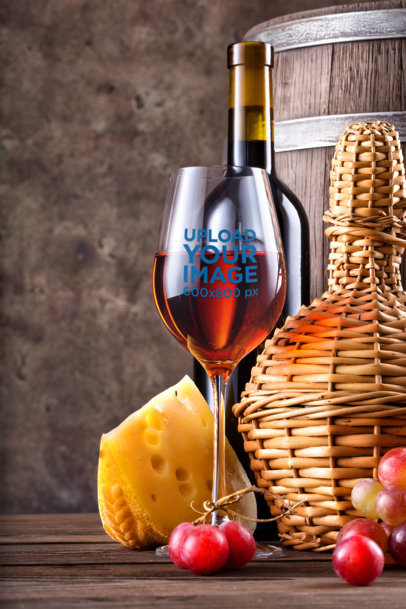 Mockup of a Customizable Wine Glass Surrounded by Cheese and Grapes m3271-r-el2