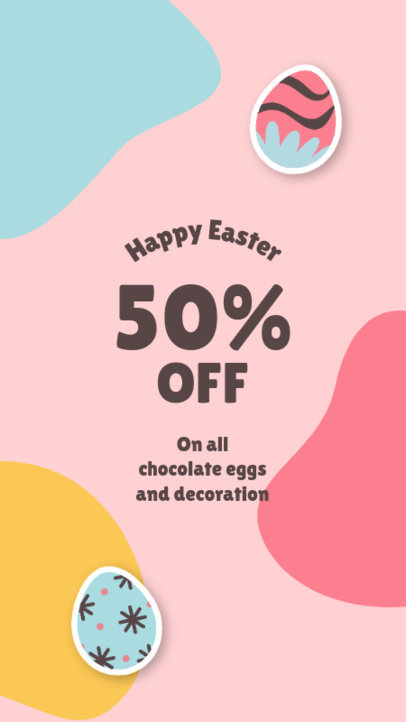 Instagram Story Template for Easter Deals Featuring Decorated Egg Graphics 3687-el1