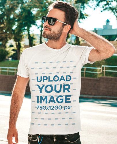 Crewneck T-Shirt Mockup Featuring a Man Wearing Sunglasses M1537-r-el2