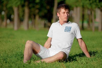 Polo Shirt Mockup of a Man Chilling at a Park m3002-r-el2