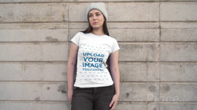 T-Shirt Video of a Young Woman Posing in an Urban Scenario 3023v