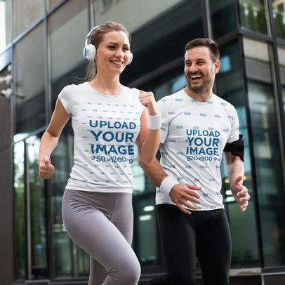 T-Shirt Mockup of a Happy Couple Jogging in the City m2831-r-el2