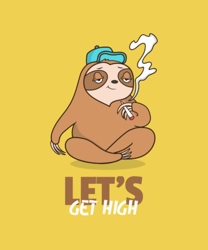 Cannabis T-Shirt Design Generator Featuring a Sloth Cartoon 3677a-el1