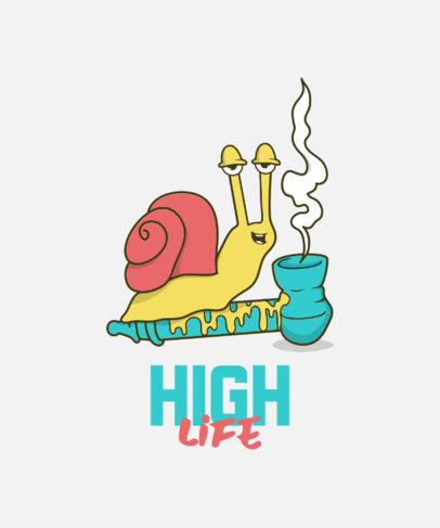 Marijuana-Themed T-Shirt Design Generator Featuring a Snail Cartoon 3677d-el1