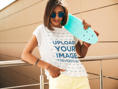 Mockup of a Young Woman With Sunglasses Wearing a Customizable T-Shirt m1505-r-el2