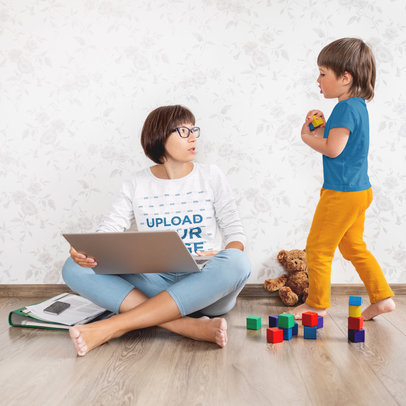 Long Sleeve Tee Mockup of a Mom Trying to Work From Home 46236-r-el2
