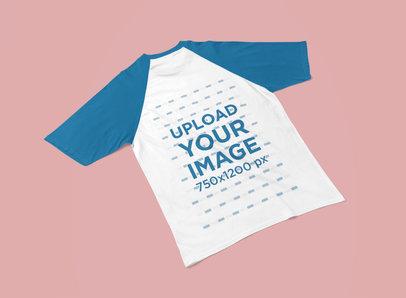 Back-View Mockup of a Raglan T-Shirt Laid Flat on a Surface 5199-el1
