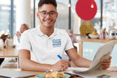 Polo Shirt Mockup of a Young Man Working at a Cafe M3218-r-el2
