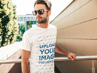 T-Shirt Mockup Featuring a Young Bearded Man With Sunglasses Posing m2643-r-el2