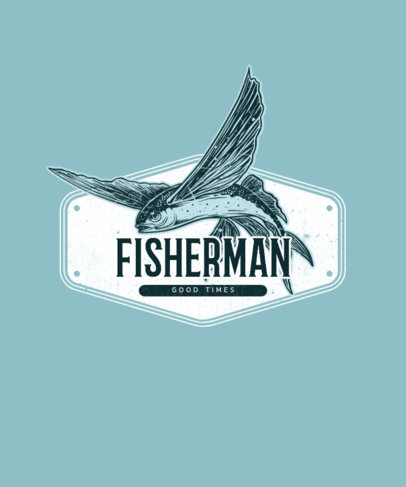 T-Shirt Design Generator Featuring an Illustrated Flying Fish Plaque 3665c-el1