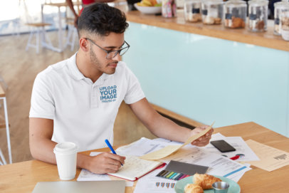 Polo Shirt Mockup of a Man With Glasses Working M3220-r-el2