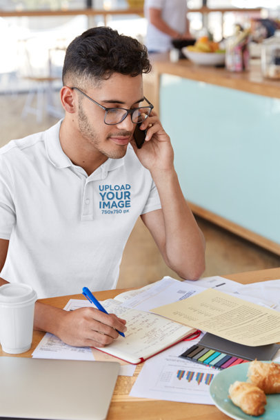 Polo Shirt Mockup of a Man Working at a Cafe M3310-r-el2