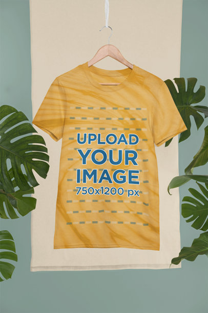 Mockup of a Custom Tie-Die T-Shirt Hanging in a Tropical Setting m4032