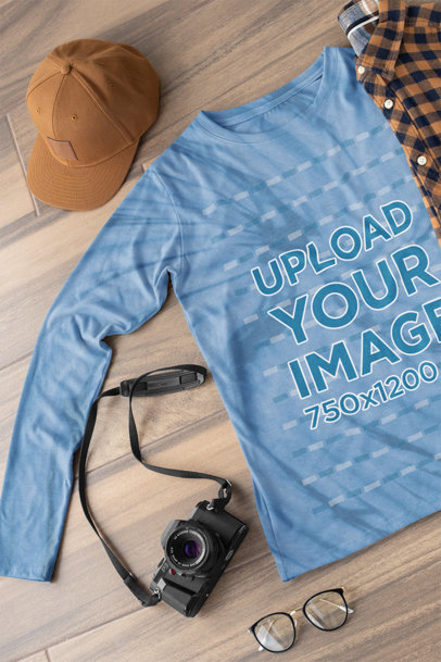 Tie Dye Long Sleeve Tee Mockup of a Photographer's Outfit on the Floor m4035