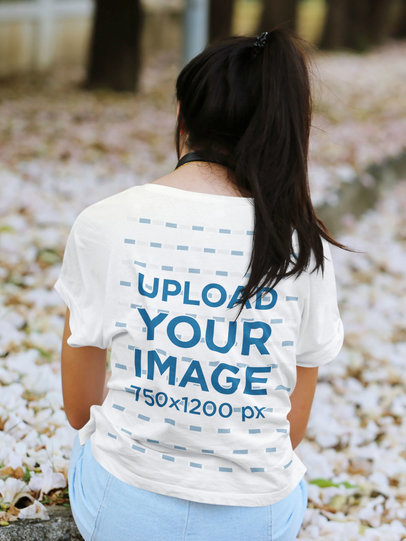 Back-View T-Shirt Mockup of a Woman Admiring Some Flowers 45091-r-el2