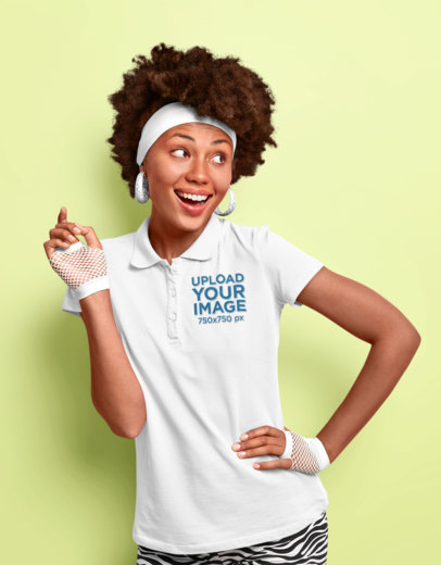 Polo Shirt Mockup Featuring a Happy Woman in a Retro Outfit M3313-r-el2