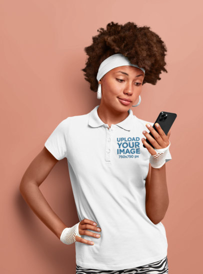 Polo Shirt Mockup Featuring a Woman With a Retro Style M3534-r-el2