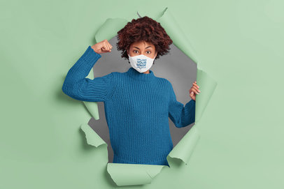 Face Mask Mockup Featuring a Strong Woman Coming Through the Wall m3481-r-el2