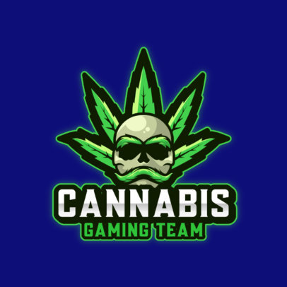 Gaming Logo Template with a Cannabis-Themed Skull Graphic 3711e-el1