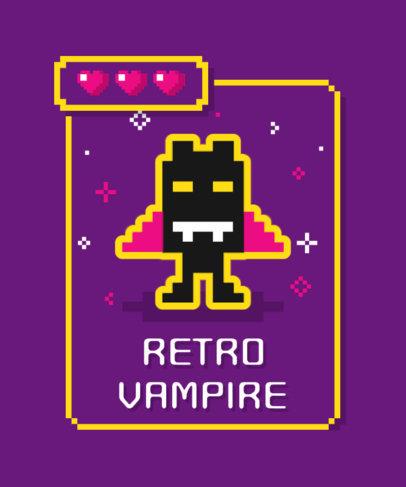 T-Shirt Design Maker Featuring an 8-Bit Gaming Vampire 3717c-el1