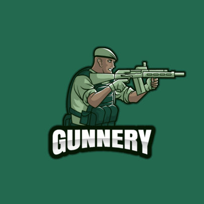 Illustrated  Logo Maker for Gamers Featuring an Elite Soldier Holding a Rifle 3709f-el1