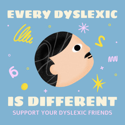 Illustrated Instagram Post Design Template for Dyslexia Awareness Day 3526d