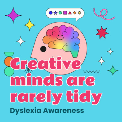 Colorful Instagram Post Creator to Spread Awareness About Dyslexia 3527f