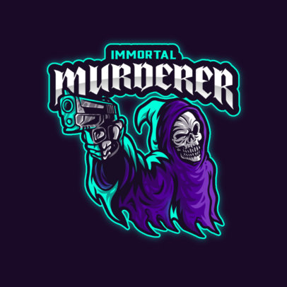 Gaming Logo Template Featuring a Reaper Character with a Gun 4190c