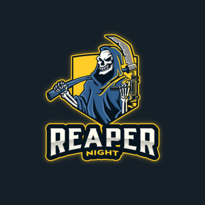 Gaming Logo Template Featuring a Reaper with a Scythe 4190j