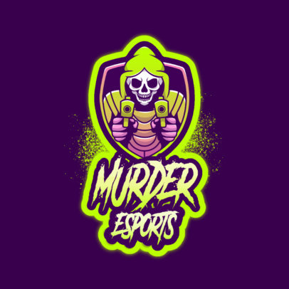 Logo Creator for Gamers Featuring a Skeleton with Guns 4191i