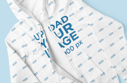 Closeup Mockup of a Sublimated Full-Zip Hoodie Placed On a Colored Surface 5042-el1