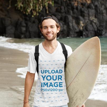 Mockup of a Surfer Wearing a V-Neck T-Shirt m2807-r-el2