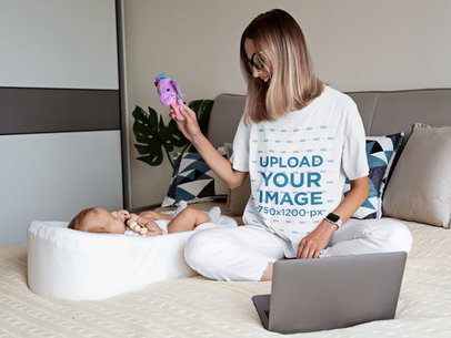 Unisex T-Shirt Mockup Featuring a Young Mother Playing With Her Baby m3009-r-el2