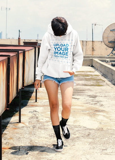 Hoodie Mockup of a Short-Haired Woman on the Rooftop of a Building 44988-r-el2