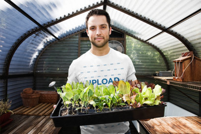 T-Shirt Mockup Featuring a Man at a Greenhouse 43068-r-el2