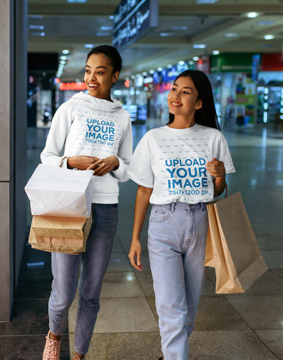 T-Shirt and Hoodie Mockup of Two Female Friends Shopping at a Mall 44401-r-el2